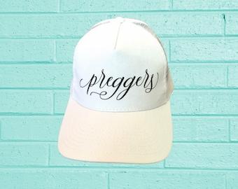 preggers trucker hat, trucker hat, baseball cap, mom hat, baby shower gift, pregnancy gift