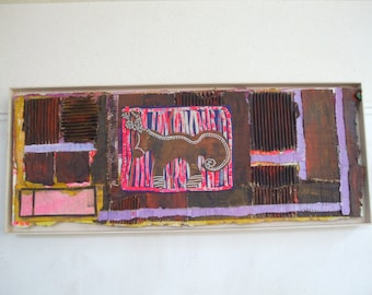 Horse with antler, abstract mixed media on cardboard