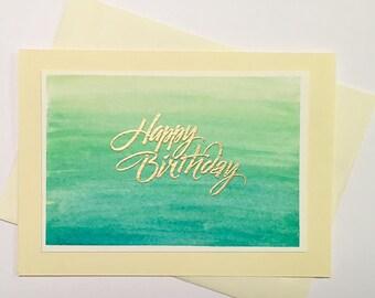 "Happy Birthday Embossed Watercolor Card 5x7"""