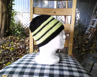 Black and green striped beanie