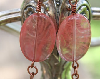 Handcrafted Copper and Rose Quartz Earrings