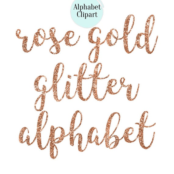 BUY 2 GET 1 FREE, Rose gold glitter alphabet clipart, 36 png, 300 dpi from EppiArt on Etsy Studio