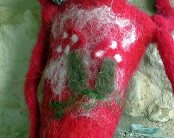 Mushroom bag purse decoration mushrooms poisonous hang folk fantasy decoration Halloween autumn girl forest nature red felt handgefilzt