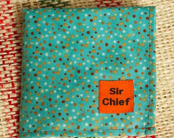 Spots - Blue & Brown - Handkerchief / Pocket Square