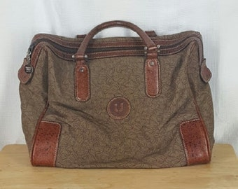 Vintage Emanuel Ungaro Paris Boston bag Brown Canvas Leather Trim