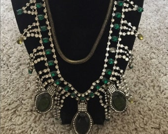 Green crystal statement necklace