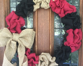 UGA/Falcons Burlap Wreath, Burlap Wreath