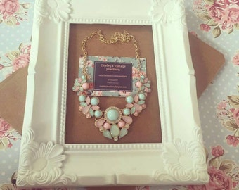 Vintage Statement Necklace Pastel Colours