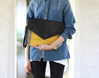 Vegan leather oversized clutch