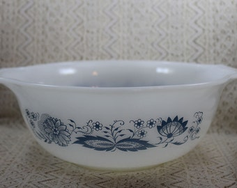 Vintage White Mixing Bowl, Blue and White Mixing Bowl, Cinderella Mixing Bowl, Large Milk Glass Mixing Bowl