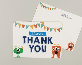 Monster Bash First Birthday Thank You Postcards