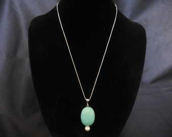 Oval Turquoise Pendant Necklace in Sterling Silver with Pearl or Hematite Ending