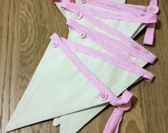 Embellished Fabric Bunting - Calico and Pink