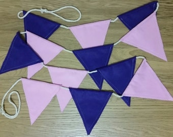 Felt bunting - pink and purple