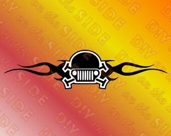 SVG Cut File Jeep Skelleton Tribal Instant Download