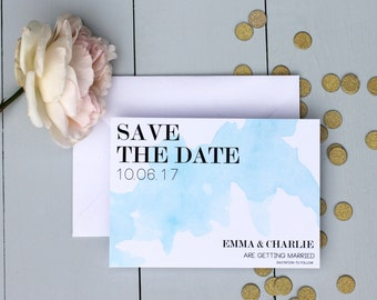 Blue Wedding Save The Date Card, Watercolour Wedding Save The Date Invite