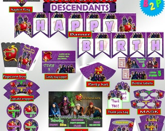 Descendants Birthday Party Kit, Birthday Party Set Printable, Descendants Editable Birthday Decorations Package - Instant Download - dd1
