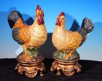 Vintage 12 Inch Tall Italian Ceramic Pottery FIGURAL ROOSTER & HEN Set