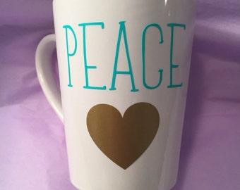 Peace mug with a heart