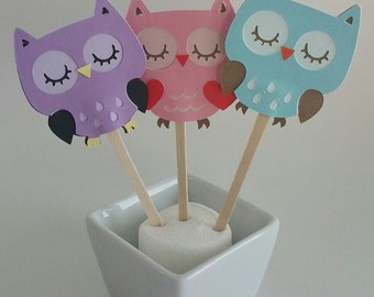12 Owl Cupcake Toppers, Birthday, Shower, Party Favors