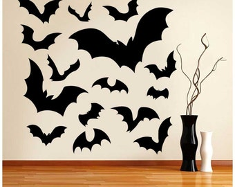 15 Bats Variety Of Sizes Halloween Wall Decal - Large Variety Pack Of Halloween Sticker  - Window Stickers , Wall Stickers , Vinyl Transfer