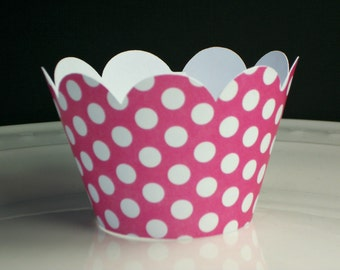 NEW! Bright Pink Polka Dot Cupcake Wrappers- birthday party decor,bachelorette parties,baby shower-(Set of 12+) Wrap your cupcakes in style!
