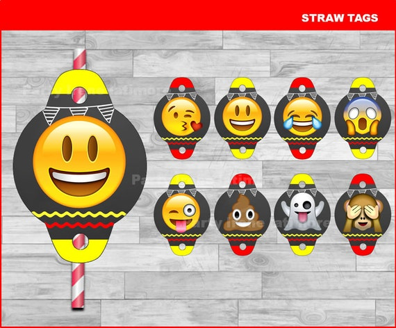 Emoji Party Digital Download Straw Flags