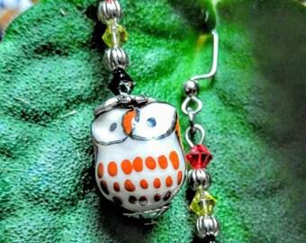 Crystals & Porcelain Owl Earrings