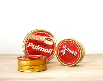 Vintage tin box Pulmoll - French collectible round metal box - Red tin box medicine tablets Pulmoll - Advertising box tin box - Metallic box
