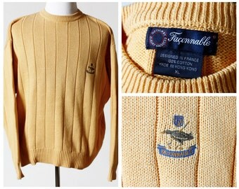 Vintage Men's Sweater - Faconnable Faҫonnable 90s Retro X Large Yellow XL