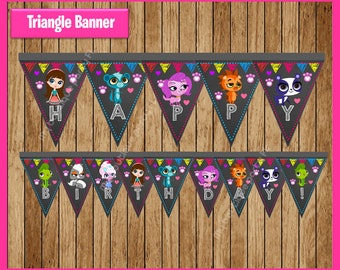 Littlest Pet Shop chalkboard Triangle Banner instant download, Printable Littlest Pet Shop Banner, chalkboard Pet Shop triangle Banner