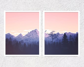 Mountain Print Set of Two Nature Art Wall Prints Printable Art Set Set of 2 Prints Printable Set Illustration Print Nature Art Sunset Print