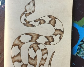Refillable Leather Journal with Burned Copperhead Design