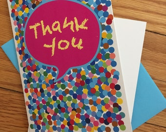 Thank You Greeting Card, Colorful polka dots
