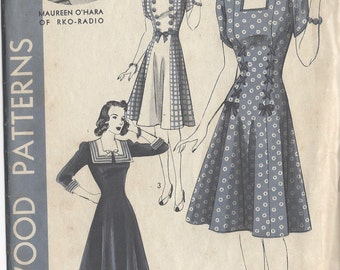 "1940s Vintage Sewing Pattern DRESS B32"" (R477) Hollywood 703"