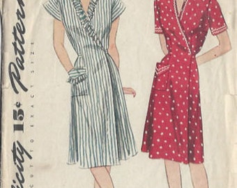 "1944 Vintage Sewing Pattern DRESS B32""-S14 (21) Simplicity 1199"