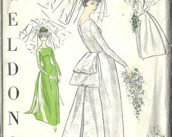 """1960s Vintage Sewing Pattern B34"""" WEDDING DRESS with or without TRAIN (1632) By Weldons 8202"""