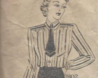 "1940s Vintage Sewing Pattern BLOUSE B36"" (R528) Maudella 1802"