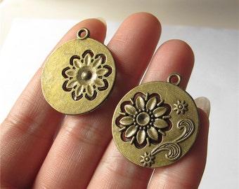 Flower Charm Pendant Antique Brass Drop Handmade Jewelry Finding 27x30mm 2 pcs