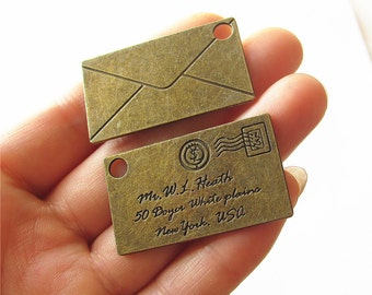 Envelop Charm Pendant Antique Brass Drop Handmade Jewelry Finding 23x40mm
