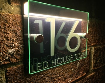 modern house sign plaque door number street glass acrylic blackwhite led holder
