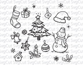 Christmas SVG, Christmas clipart, Christmas cut file, Christmas tree svg, snowman vector, Christmas decorations, Files for Silhouette Cricut