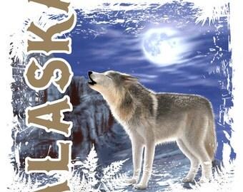 Alaska Wolf T-shirt, tank or sleeveless white M L XL 2X 3X 4X 5X Women Ladies Men NEW