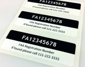 Set of 3 Premium FAA Drone Registration Labels/Stickers in Black Color, FAA-Compliant, Waterproof and Easy to Remove