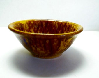 Antique Yellow and Brown Sponge Ware Bowl