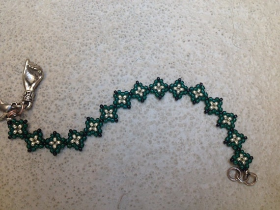 Green and Silver Beaded Bracelet with Silver Hand Charm