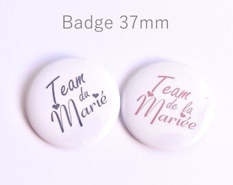 Round badge of the bride, team groom 37mm