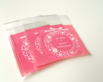 10 mini transparent Christmas gift bags pouches 7x7cm