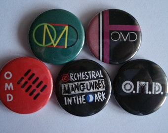 """5 x Orchestral Manoeuvres in the Dark 1"""" Pin Button Badges ( omd dazzle ships )"""