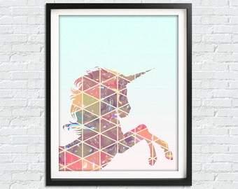 Unicorn Poster, Unicorn Print, Unicor Decoration, Digital Print, Printable Poster, Geometric Decor, Girls Bedroom, Wall Art, Girl Room Decor